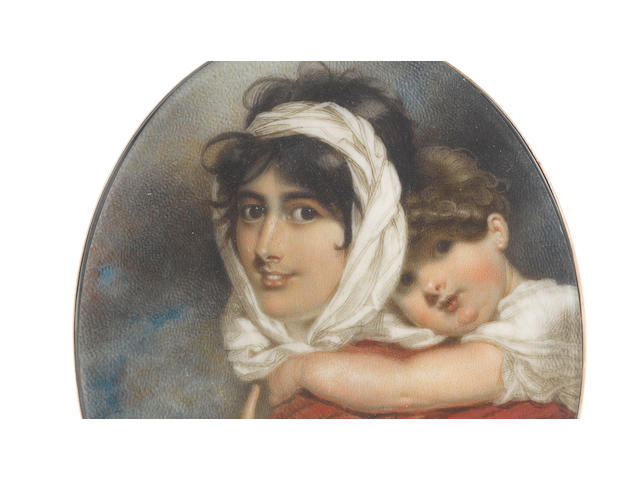 George Chinnery RHA (British, 1774-1852) An important portrait miniature, probably of Anne Thackeray (née Becher) (1792-1864) and her son William Makepeace Thackeray (1811-1863); the former, wearing saffron dress with short bouffant sleeves and cord belt, her son secured onto her back within the seat of her crimson shawl, her dark hair upswept beneath a white striped bandeau tied loosely beneath her chin, her right hand pointing to her face; the latter, wearing white chemise, his brown hair curling naturally, his arms wound about his mother's neck