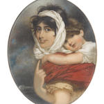 George Chinnery RHA (British, 1774-1852) An important portrait miniature, probably of Anne Thackeray (née Becher) (1792-1864) and her son William Makepeace Thackeray (1811-1863); the former, wearing saffron dress with short bouffant sleeves and cord belt, chestnut shawl, her dark hair upswept beneath a white bandeau, tied loosely beneath her chin, her right hand pointing upwards; the latter, wearing white chemise, his brown hair curling naturally, his arms wound about his mother's neck