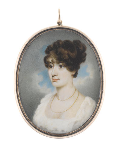 George Chinnery RHA (British, 1774-1852) A Lady, wearing white dress with frilled trim to her décolleté, double-stranded gold necklace, her dark hair curled and upswept