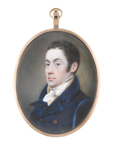 John Cox Dillman Engleheart (British, 1782-1862) A Gentleman, wearing blue double-breasted coat, buff waistcoat, white chemise, stock and knotted cravat, his dark hair worn short