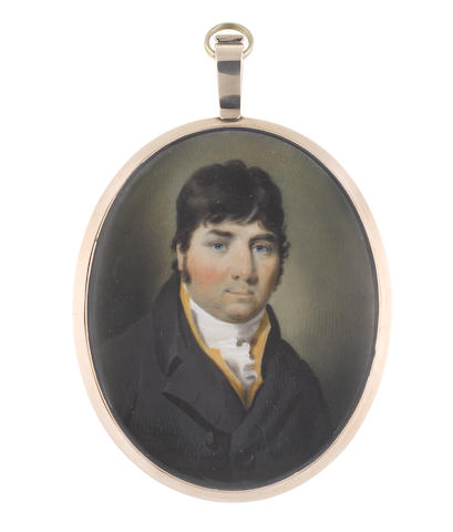 John Comerford (Irish, 1770-1832) A Gentleman, wearing black coat, saffron waistcoat, white chemise, stock and frilled cravat