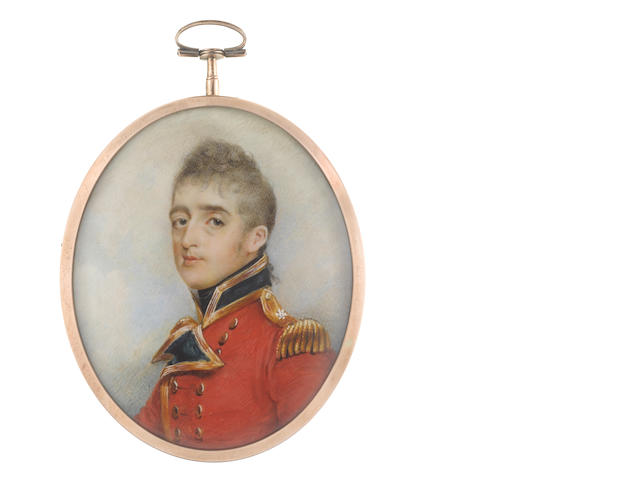 George Chinnery RHA (British, 1774-1852) Captain and Lieutenant-Colonel Stephen Peacocke Sr. of the 3rd Regiment of Foot (later Scots Guards), wearing the uniform of the 3rd Regiment of Foot Guards, red coat with dark blue facings and standing collar edged with gold, gold epaulettes, black stock