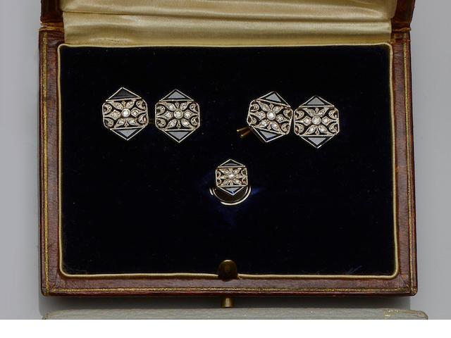 A sapphire and diamond dress set,