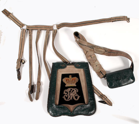 Royal Bucks Yeomanry Cavalry, Officer's Full Dress Sabretache,  Shoulder Belt, Pouch and Waist Belt, Foul Weather Covers and Named  Carrying Tin