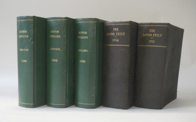 Five post-War bound volumes of MotorCycling and The MotorCycle,