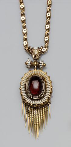 A Victorian garnet and enamel pendant