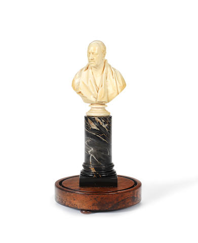 Benjamin Cheverton, British (1796-1876) A carved ivory portrait bust of George Saunders after Sir Francis Leggatt Chantrey (1781-1841)