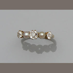A pearl and diamond five stone ring