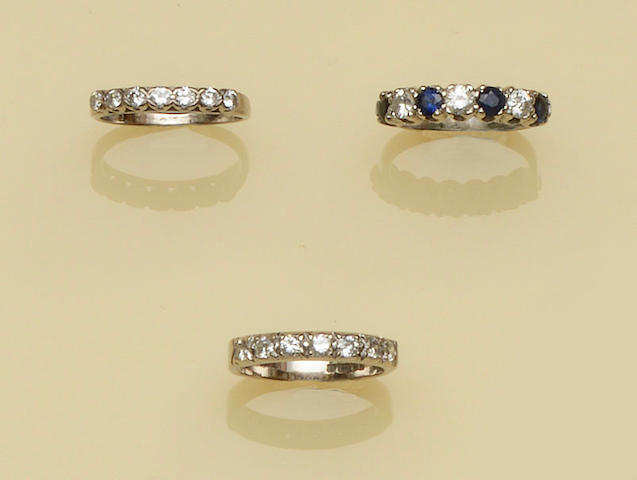 Three diamond set half hoop rings (3)