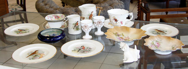 Six Royal Worcester pieces by W. Powell together with other various porcelain