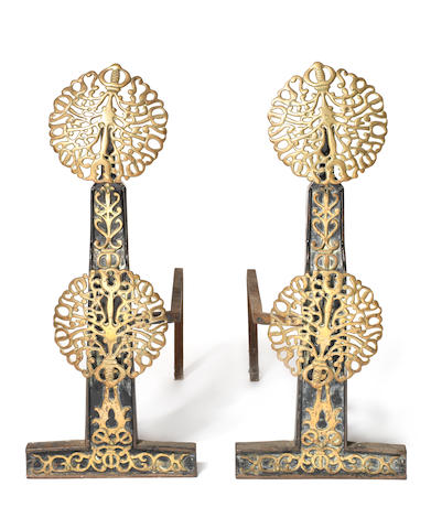 English A Pair of Arts and Crafts Brass and Wrought Iron Firedogs, circa 1910