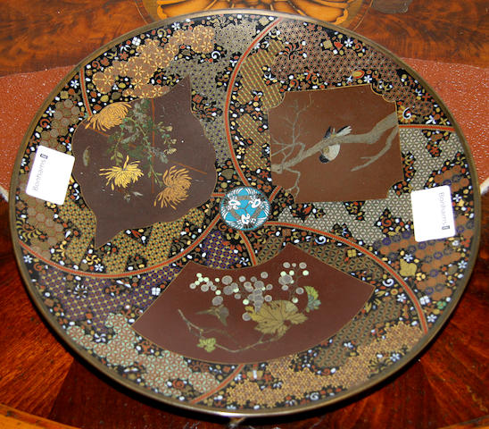 A Japanese cloisonne charger, Meiji period,