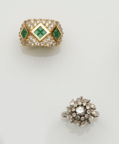 A diamond cluster ring and an emerald and diamond ring (2)