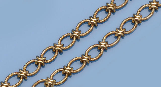 A 9ct gold fancy-link necklace and bracelet suite (2)