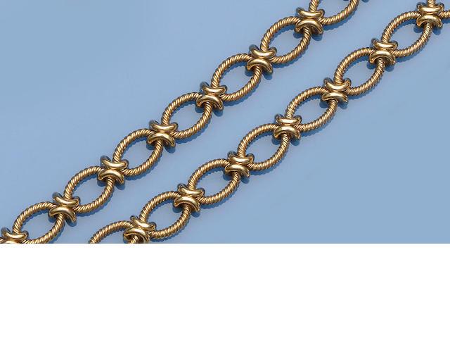 A 9ct gold fancy-link necklace and bracelet suite (2)