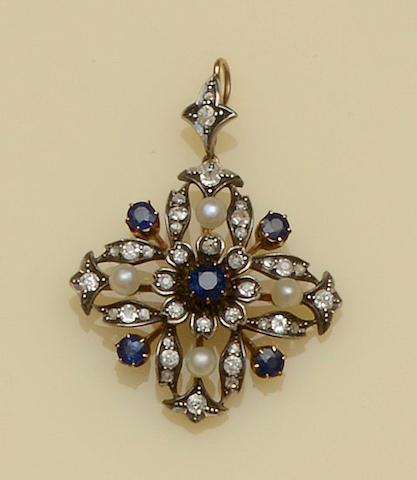 A Victorian sapphire, diamond, and pearl pendant