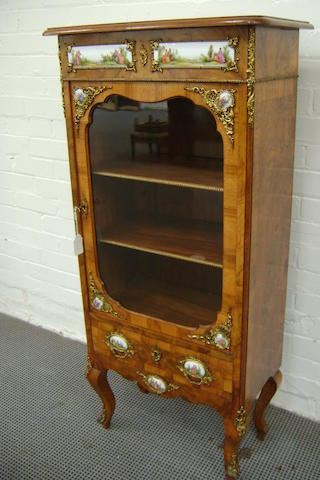 Circa 1890 French walnut small Vitrine