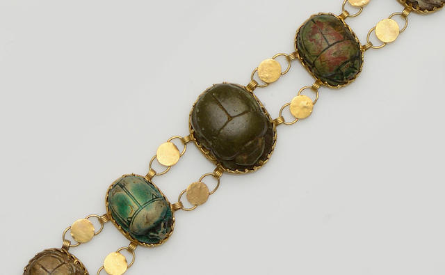 An Egyptian scarab bracelet