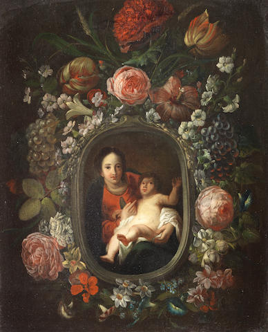 Circle of Frans Ykens (Antwerp 1601-1693 Brussels) The Madonna and Child within a garland of fruit