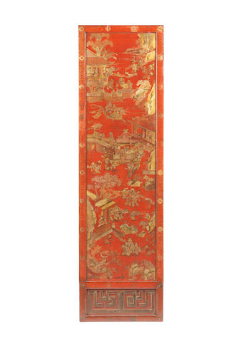 An attractive set of four red lacquer and gilt rectangular hanging panels 18th century