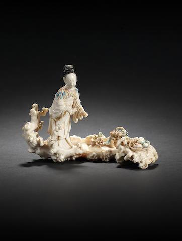 A rare and finely-carved ivory figure of a lady Immortal Qianlong
