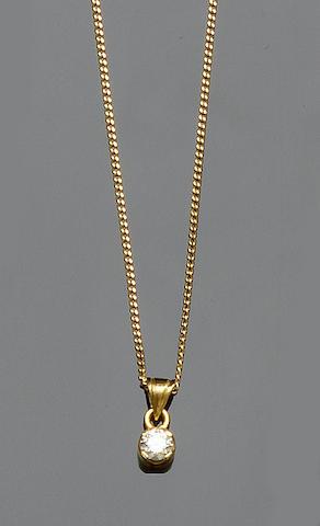 A diamond single stone pendant and a diamond half hoop ring (2)