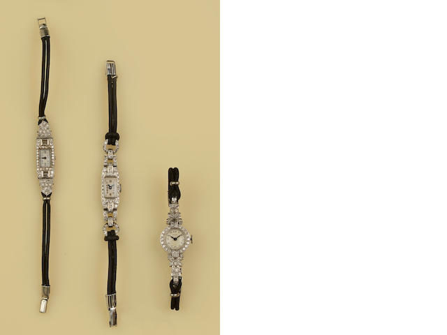 Three diamond set cocktail watches(3)