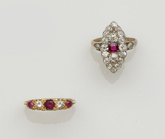 Two ruby and diamond rings (2)