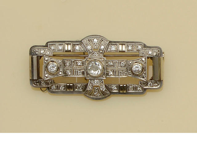 An Art Deco diamond panel brooch,