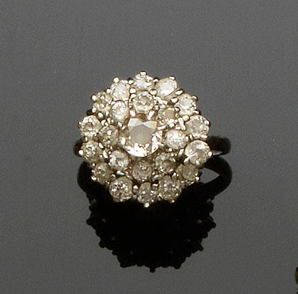 A diamond tiered cluster ring, circa 1970s