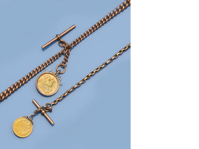 A 9ct gold Albert chain with sovereign pendant (2)
