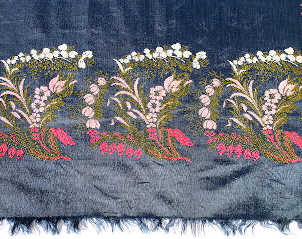 An early 19th century blue silk Spitalfields shawl