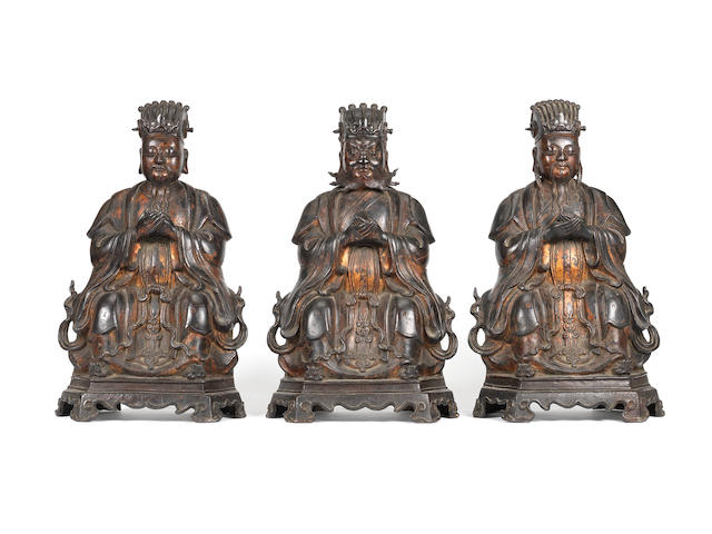 A very rare set of three large bronze figures of Liu Bei, Guan Yu and Zhang Fei Late Ming Dynasty