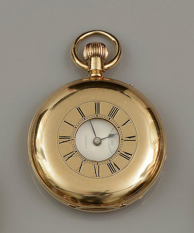 G.E. Frodsham: An 18ct gold keyless wind half hunter pocket watch Case No.6353, Movement No.9353
