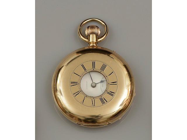 G.E. Frodsham: An 18ct gold keyless wind half hunter pocket watchCase No.6353, Movement No.9353