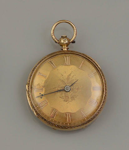 A Victorian 18ct gold open face pocket watch (3)