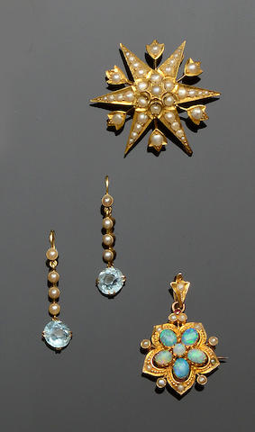 A Victorian seed pearl brooch, an opal and seed pearl brooch/pendant and a pair of aquamarine and half pearl earpendants (3)
