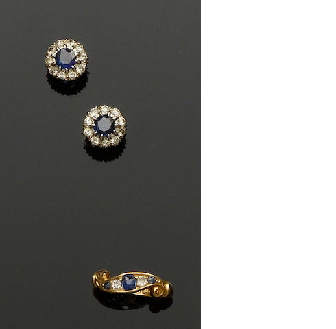 A pair of sapphire and diamond earstuds and a sapphire and diamond ring (2)