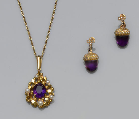 An amethyst and cultured pearl pendant and a pair of amethyst and seed pearl earpendants (2)