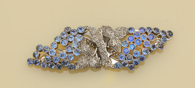 A sapphire and diamond double clip brooch  (2)