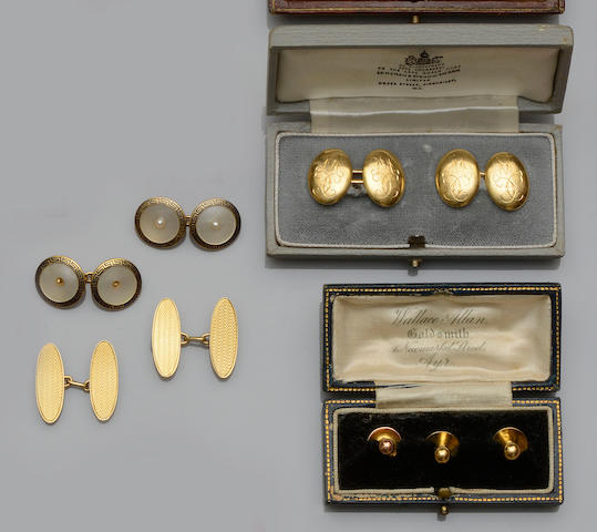 Three pairs of cufflinks and three dress studs (6)