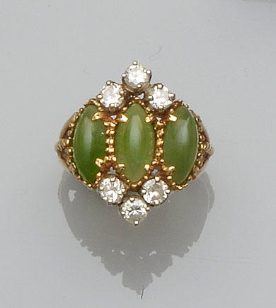 A green chalcedony and diamond dress ring