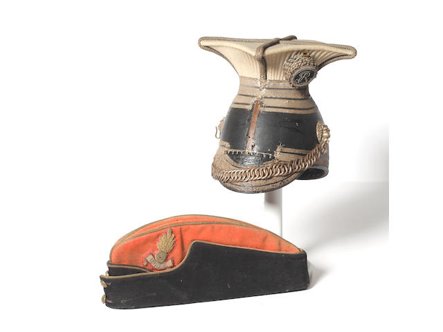 Lincolnshire Imperial Yeomanry an Officer's Edwardian Period  Lance Cap and a Royal Artillery Officer's Side Hat.