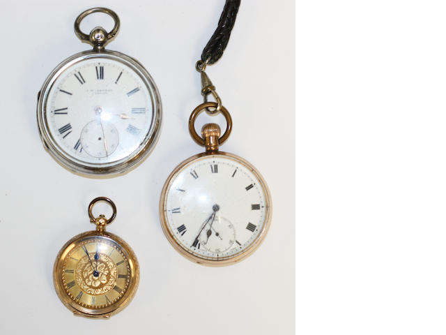 Three open face pocket watches, (3)