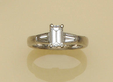 A platinum diamond single stone ring
