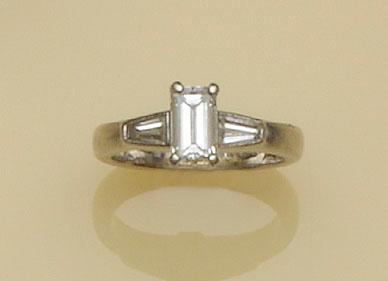 A platinum diamond single stone ring