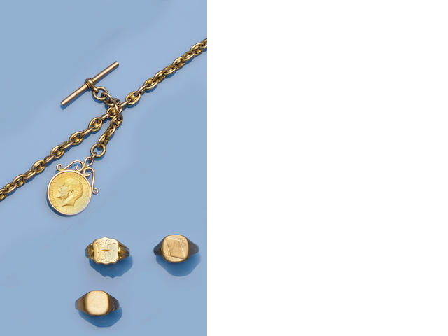A fancy-link Albert chain with sovereign pendant (4)