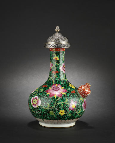 A white metal-mounted, famille rose Tibetan-style ewer and cover, kendi Qing Dynasty or later