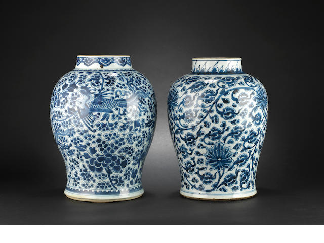 Two blue and white baluster vases
