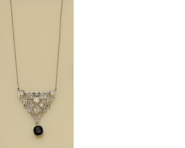 A diamond and paste pendant